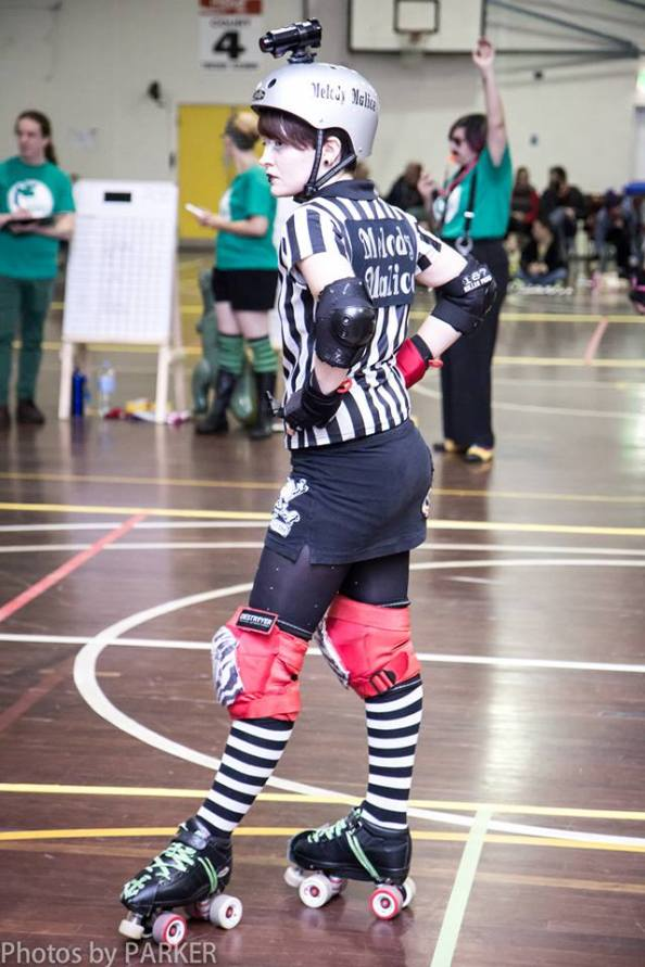 The reffing world lost Melody when she became a derby girl